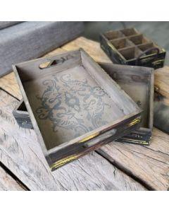 2er Set Tabletts Hoka, mit Ornamenten, Holz