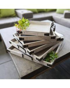 6er Set Tablett, quadratisch, weiß-gewischt, Holz
