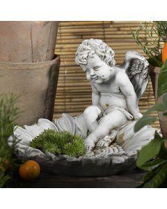 Vogeltränke Margeritte, seidengrau matt, Resin