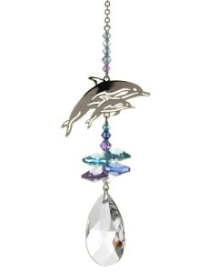 (8061-DOL RBL) Phantasie-Kristall Delphin, mittel