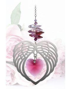 (8081-RY) Engelsflügel mit Herz, Rosa, groß
