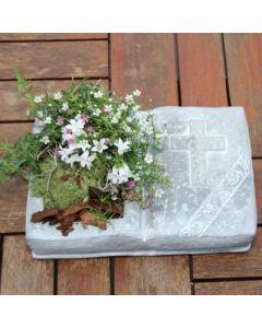 Gedenkbuch mit Kreuz, zum bepflanzen, Zementguss
